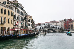 Gondolas in Grand Canal in Venice city in rain Royalty Free Stock Photography