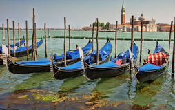 Gondolas on Grand Canal in Venice. Stock Photo