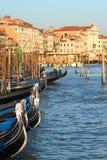 Gondolas on Grand Canal in Venice, Italy. Royalty Free Stock Photos