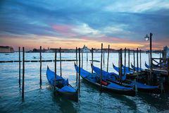 Gondolas in grand canal, Venice, Italy Stock Photos