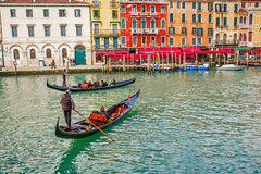Gondolas on Grand Canal Royalty Free Stock Photos