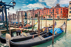 Gondolas on Grand canal in Venice. Italy Royalty Free Stock Image