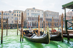 Gondolas on Grand canal in Venice, Italy Royalty Free Stock Images