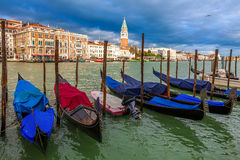 Gondolas on Grand Canal in Venice, Italy. Royalty Free Stock Photography