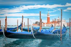 Gondolas at the Grand Canal in Venice, Italy stock photography