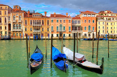 Gondolas on Grand Canal in Venice, Italy. Stock Image