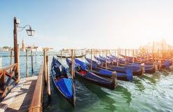 Gondolas on Grand canal in Venice, San Giorgio Maggiore church. San Marco. Stock Photos