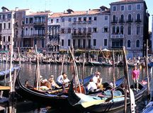 Gondolas on Grand Canal, Venice. Stock Images