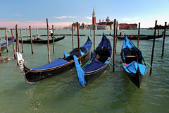 Gondolas on Grand Canal in Venicee Stock Photo