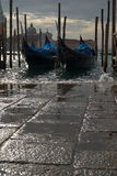 Gondolas at high tide Stock Photography