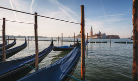 Gondolas and island in Venice, Italy Royalty Free Stock Images