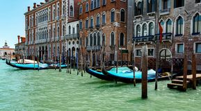 Gondolas in lagoon Venice Italy Grand canal Royalty Free Stock Photo