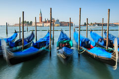 Gondolas on the lagoon Venice, Piazza San Marco Royalty Free Stock Images