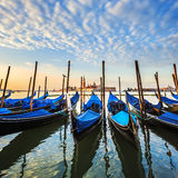 Gondolas in lagoon of Venice Royalty Free Stock Photo