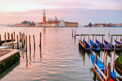 Gondolas moored across from San Giorgio di Maggiore in Venice Royalty Free Stock Image