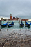 Gondolas moored in the Giudecca Canal, Venice Royalty Free Stock Photos
