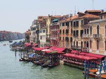 Gondolas Moored on Grand Canal, Venice Royalty Free Stock Images