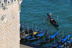 Gondolas moored near Piazza San Marco in Venice, Italy Stock Images