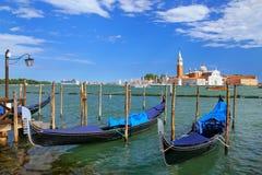 Gondolas moored near San Marco square across from San Giorgio Ma Royalty Free Stock Image