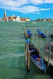 Gondolas moored near San Marco square across from San Giorgio Ma Royalty Free Stock Photo