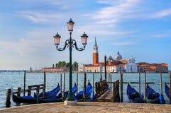 Gondolas moored near San Marco square across from San Giorgio Ma Stock Photography