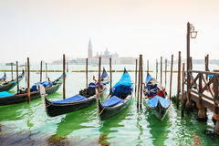 Gondolas moored near San Marco square in Venice, Italy Stock Images