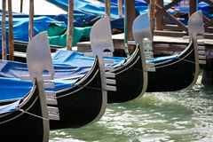 Gondolas moored by Saint Mark's square in Venice Stock Photography