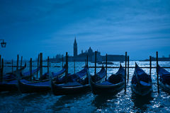 Gondolas moored by Saint Mark's square in Venice Stock Image