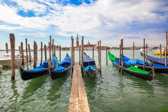 Gondolas moored by Saint Mark squar Stock Photo