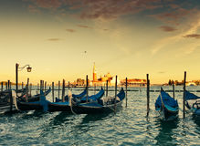 Gondolas moored by Saint Mark square Stock Image