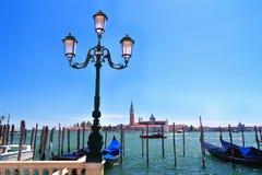 Gondolas moored by Saint Mark royalty free stock image