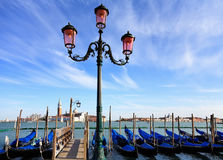Gondolas moored by Saint Mark square Royalty Free Stock Images