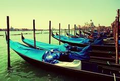 Gondolas moored by Saint Mark square. Venice, Italy Royalty Free Stock Photography