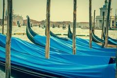 Gondolas moored by Saint Mark square. Venice, Italy, Europe Royalty Free Stock Photos