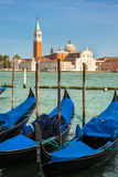 Gondolas moored by Saint Mark square. Venice, Italy, Europe Royalty Free Stock Images