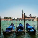 Gondolas moored by Saint Mark square. Venice, Italy Royalty Free Stock Photos