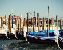 Gondolas moored by Saint Mark square. Venice, Italy Stock Photo
