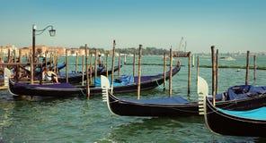 Gondolas moored by Saint Mark square. Venice, Italy Stock Image