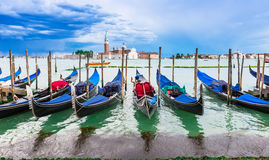 Gondolas moored by San Marco square, Venice Royalty Free Stock Image