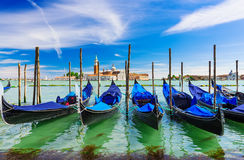 Gondolas moored by San Marco square, Venice Royalty Free Stock Images