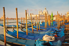 Gondolas at morning. Venice, Italy Royalty Free Stock Photos