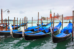 Gondolas near Saint Mark square Stock Images