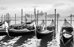 Gondolas. Near Saint Mark square in Venice, Italy. Black and white image Stock Images