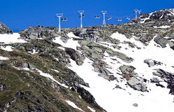Gondolas over mountain ridge, Molltaler Glacier Royalty Free Stock Photography