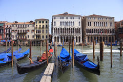 Gondolas parked at the Grand Canal. A few gondolas parked at the Grand Canal in Venice in Italy. Some of them are protected by a blue cover Stock Photography
