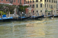 Gondolas parked Royalty Free Stock Image