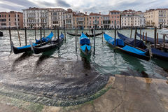 Gondolas parked on the Grand Canal in Venice, Italy Stock Photos