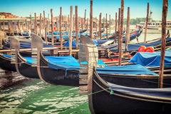 Gondolas parked near St. Marks Square of Venice Royalty Free Stock Photo