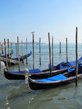 Gondolas parked on a Venetian water canal Royalty Free Stock Image