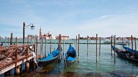 Gondolas parking lot in Venice, Italy royalty free stock photos